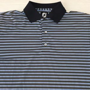 Footjoy FJ Blue Striped Polo Shirt Mens Medium